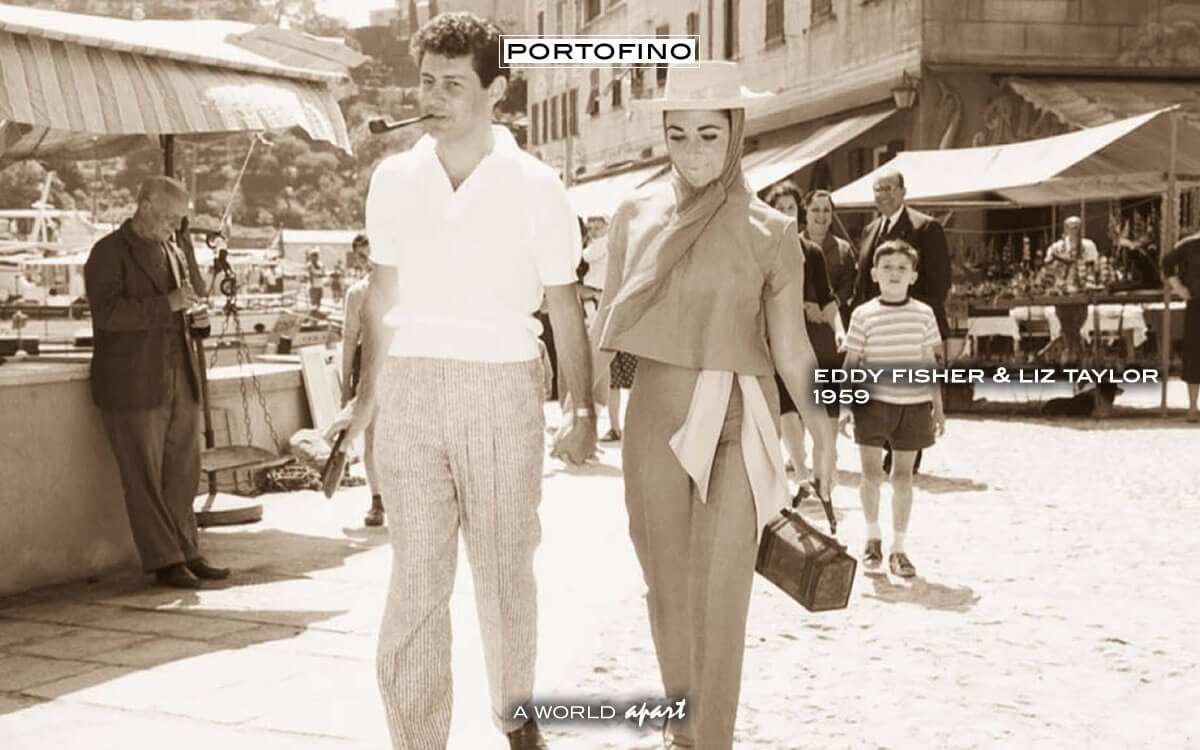 Liz Taylor walks in Portofino with Eddy Fisher (1959)