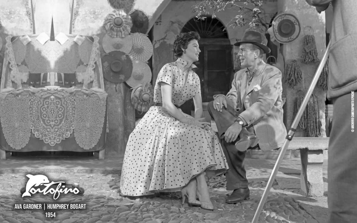 Ava Gardner with Humphrey Bogart inn Portofino