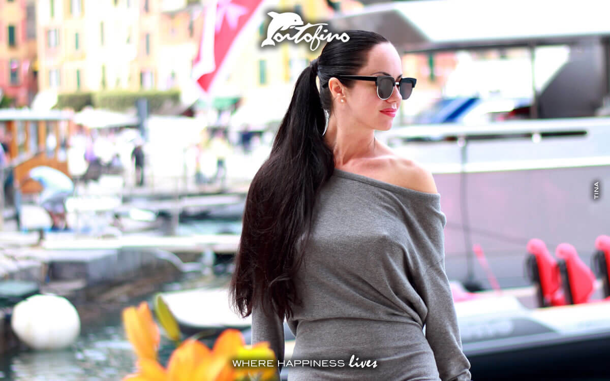 Tatiana loves Portofino from a yacht in Molo Umberto I